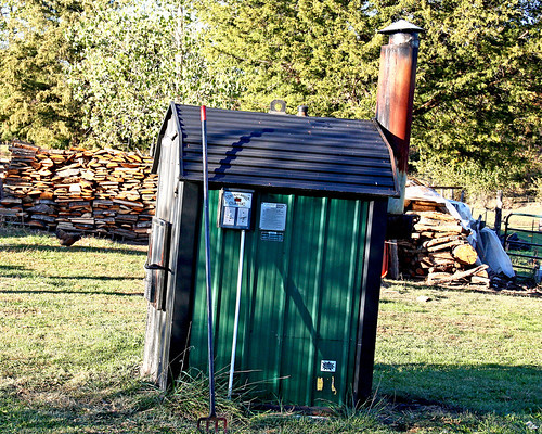 We've been enjoying the warmth the wood furnace brings to our house already, this fall.  I Think this is one of the things I like the MOST about this new farm!!  LOVE being warm in the winter for a change!!!!!!  :-))