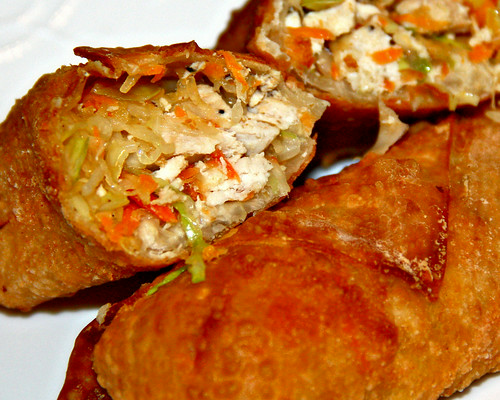 Abbie and I made some egg rolls to put in the freezer, instead of buying already made ones for a change.  It was so much nicer making these with help...I can do them by myself, but this is one of those times I'd rather have someone distracting me from the boring task of rolling them...not to mention helping to fry them.